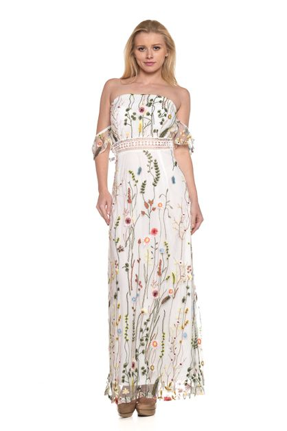 Floral off shoulder maxi dress - orangeshine.com