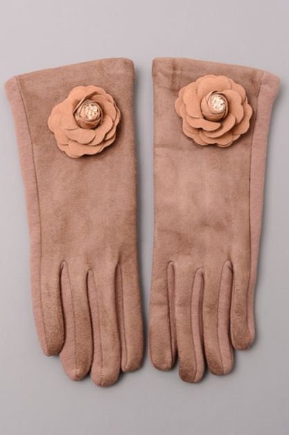 Velvet Trim Rose Gloves - orangeshine.com
