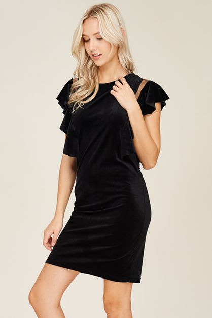 Ruffled Velvet Dress - orangeshine.com