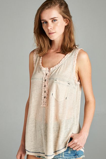 BUTTON HENLEY TANK TOP - orangeshine.com