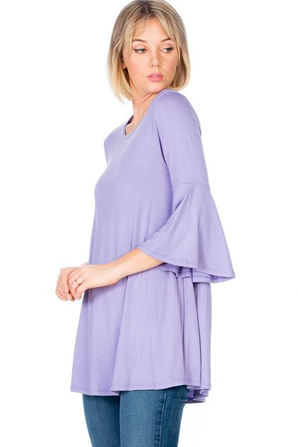 Three Quarter Bell Sleeve Tunic Top  - orangeshine.com