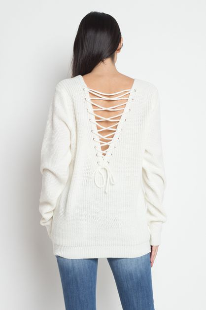 Knit Sweater With Lace Up Back - orangeshine.com