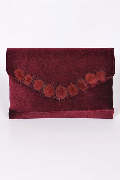 VELVET AND FAUX FUR CLUTCH - orangeshine.com