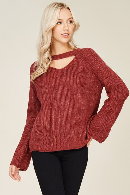 Choker Neck Sweater Pullover - orangeshine.com