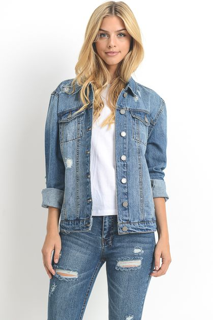 Long Sleeve Denim Jacket - orangeshine.com