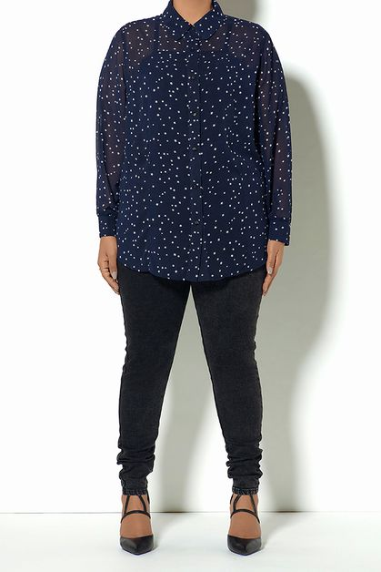 STAR PRINT BUTTONDOWN NAVY - orangeshine.com
