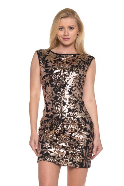 sequin pattern sexy party dress - orangeshine.com
