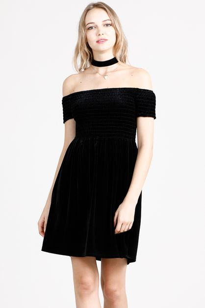 SMOCKED VELVET OFF SHOULDER DRESS - orangeshine.com