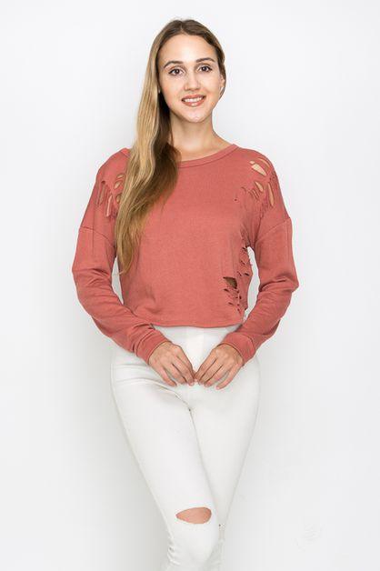 LONG SLEEVE CUTTING HOLE TOP - orangeshine.com