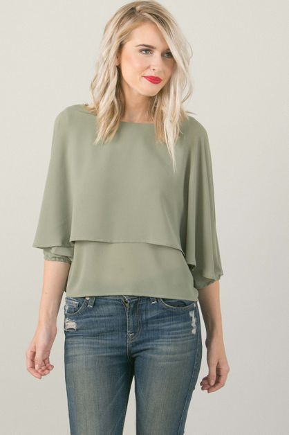 Sage Green Flowy Top - orangeshine.com