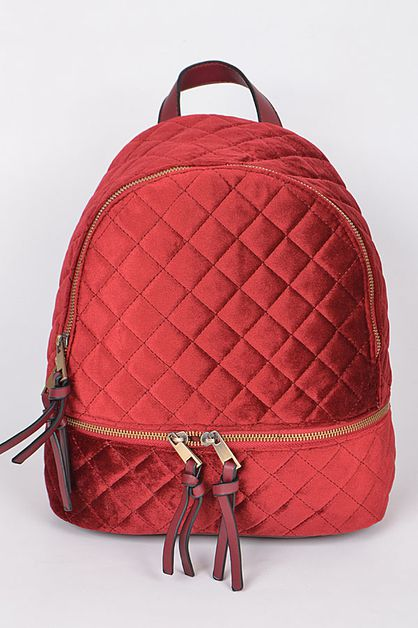 QUILTED VELVET BACKPACK - orangeshine.com