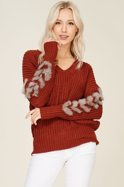 Faux Fur Detailed Sweater Pullover - orangeshine.com
