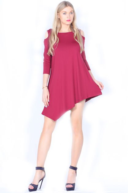 CUTOUT SHOULDER FLOW DRESS - orangeshine.com