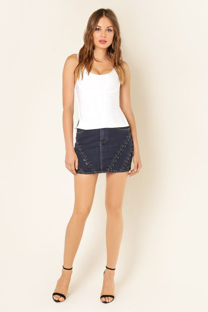 Ring Embellished Denim Skirt - orangeshine.com