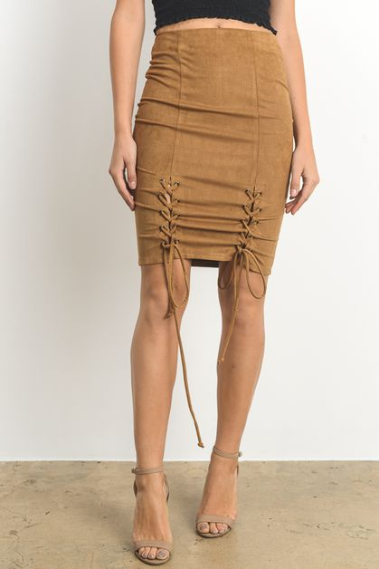 Suede Pencil Skirt  - orangeshine.com