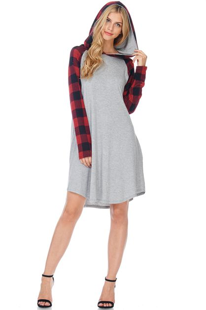 RAGLAN PLAID SLEEVE AND HOODIE DRESS - orangeshine.com