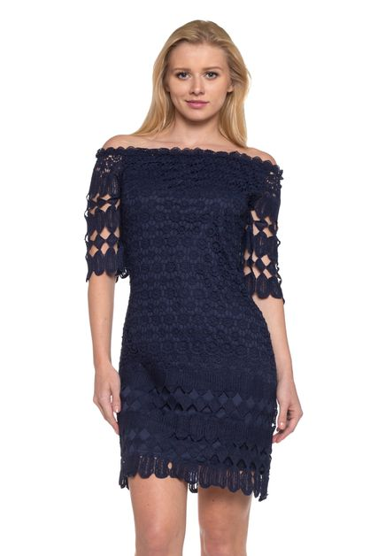 off shoulder solid crochet dress - orangeshine.com
