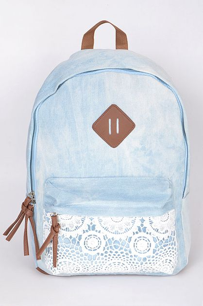 BLUE LACE TRIM BACKPACK - orangeshine.com