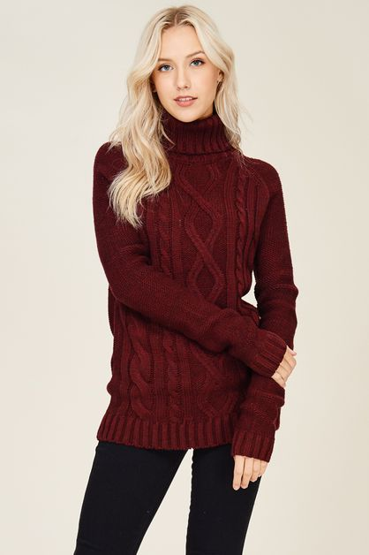 Cable Knit Turtleneck Pullover Sweat - orangeshine.com