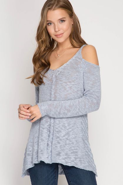 SL2745R - COLD SHOULDER SWEATER - orangeshine.com