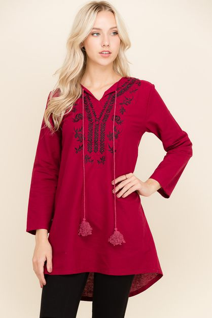 Embroidered Long Sleeve Top - orangeshine.com
