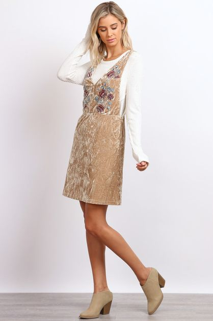 Embroidery Velvet Dress - orangeshine.com
