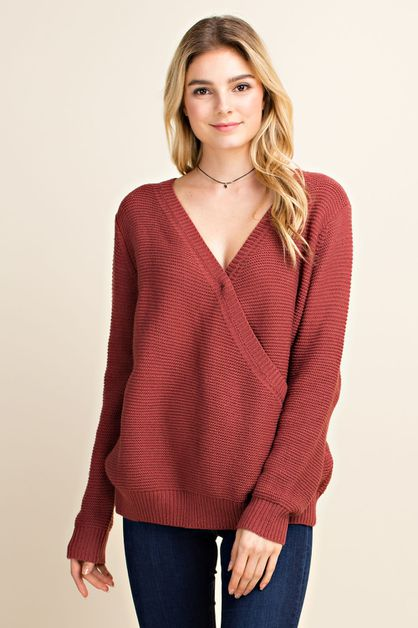 Surplice Pullover Sweater - orangeshine.com