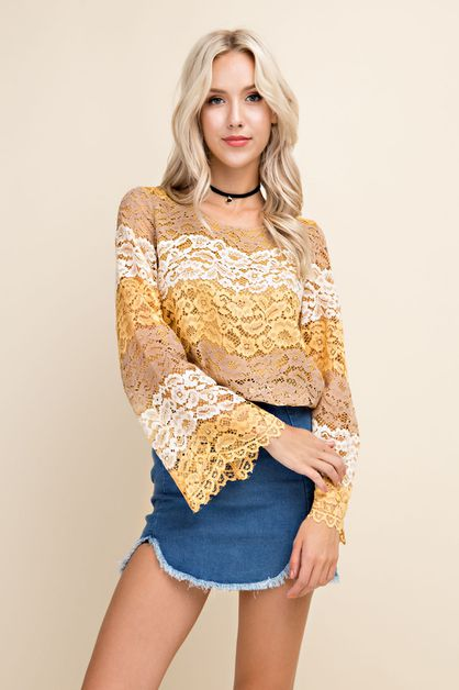 Lace Striped Bell Sleeve Blouse - orangeshine.com