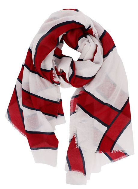 Red and White Striped Oblong Scarf - orangeshine.com