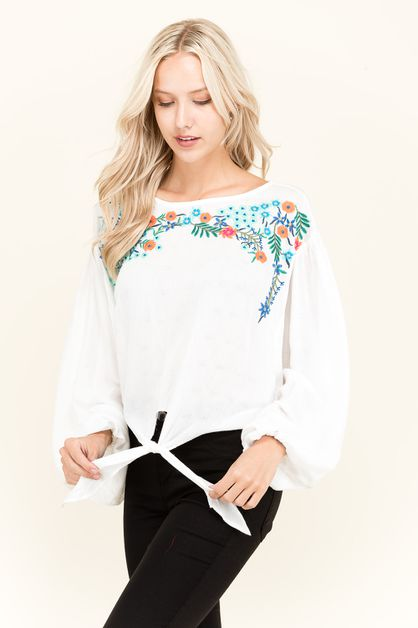 Floral Embroidered Puffed Sleeve Top - orangeshine.com