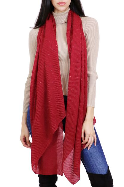 Shimmer Pleated Oblong Scarf - orangeshine.com
