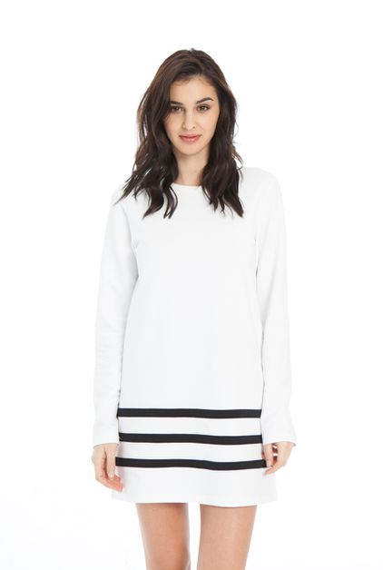 TRIPLE STRIPE LONG-SLEEVE DRESS  - orangeshine.com