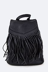 Fringe Leather Backpack - orangeshine.com
