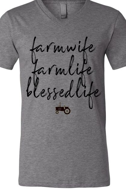 Farm Wife Farm Life Soft Tee V - orangeshine.com