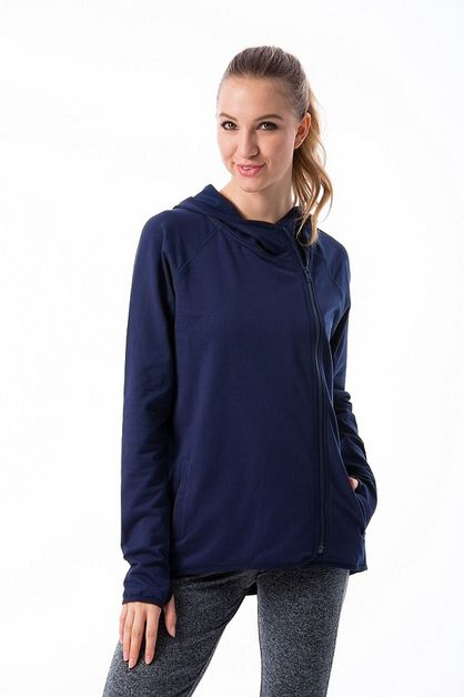 THUMB-HOLE OVERLAP ZIP-UP HOODIE  - orangeshine.com