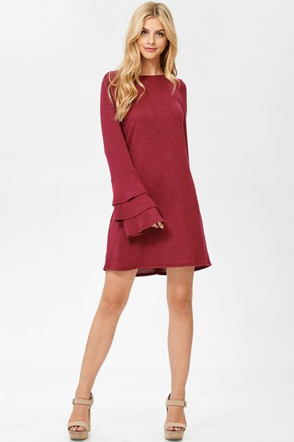Trumpet Sleeve Round Neck Dress - orangeshine.com