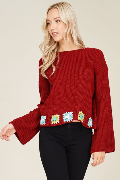 Bell Sleeve Sweater Pullover - orangeshine.com