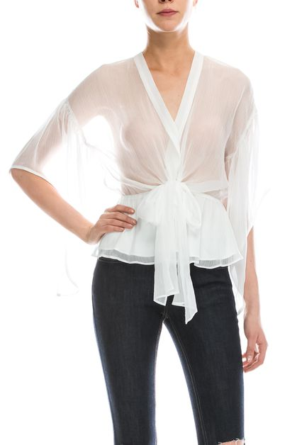 V-Neck Self Tie Top - orangeshine.com