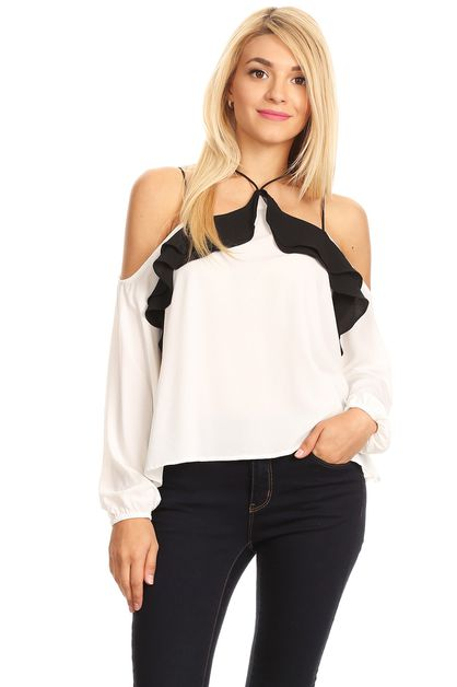 LONG SLEEVE COLD SHOULDER RUFFLE TOP - orangeshine.com