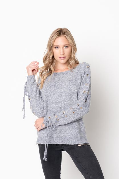 Sleeve Lace Up Knit Round Neck Sweat - orangeshine.com