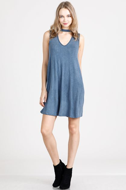 SLEEVELESS CUT OUT SLIP DRESS - orangeshine.com
