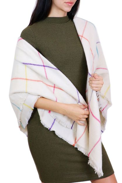 Colorful Cream Square Scarf  - orangeshine.com