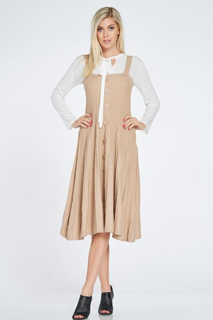 CONTEMPORARY RIBBED SWING DRESS - orangeshine.com