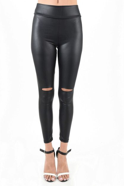 FAUX LEATHER HIGH WAIST LEGGING SLIT - orangeshine.com