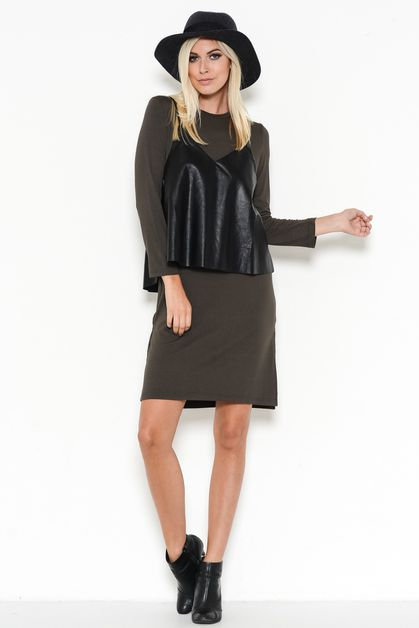 SIDE-SLIT SHIRT DRESS WITH PU CAMI - orangeshine.com