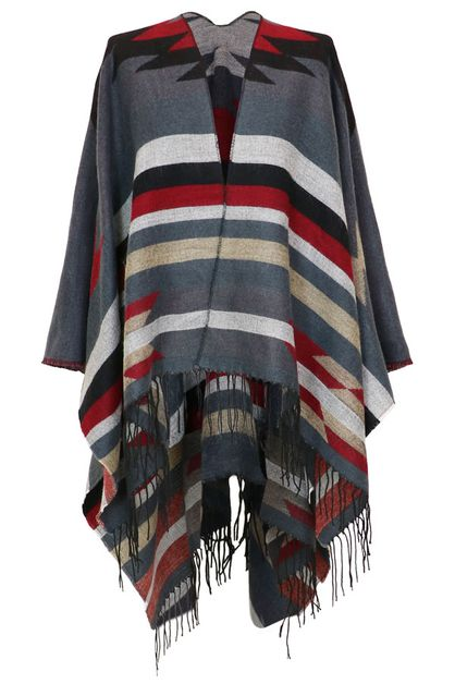 Aztec Tribal Ruana Shawl Wrap - orangeshine.com