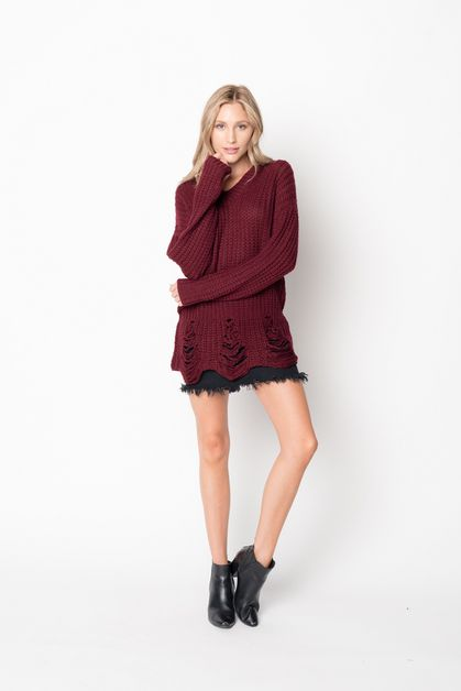 V Neckline Destroyed Knit Sweater - orangeshine.com