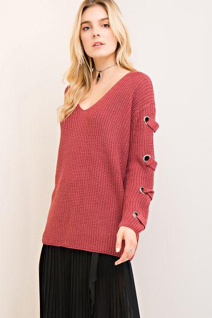Solid v-neck sweater top - orangeshine.com