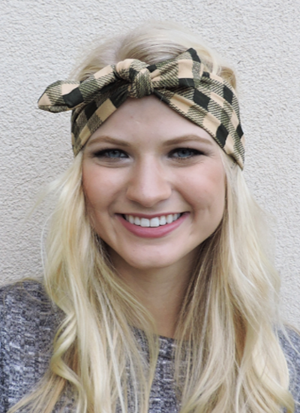 Checker Bow Headband - orangeshine.com