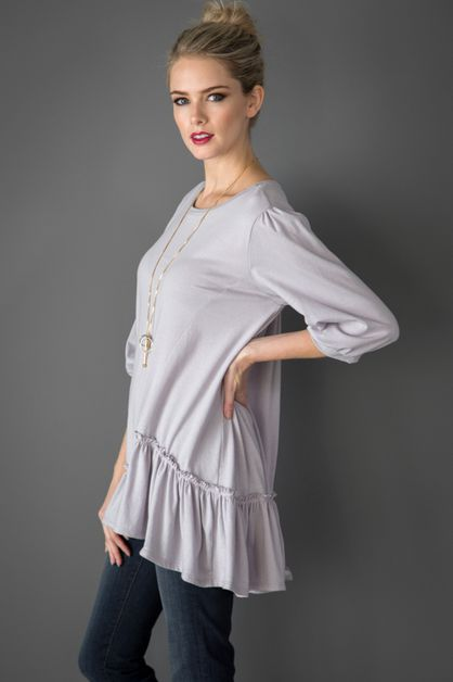 Ruffled solid cotton Top - orangeshine.com